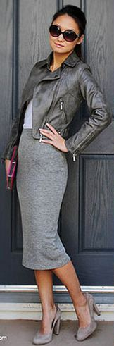 Grey Skirt and Grey jacket